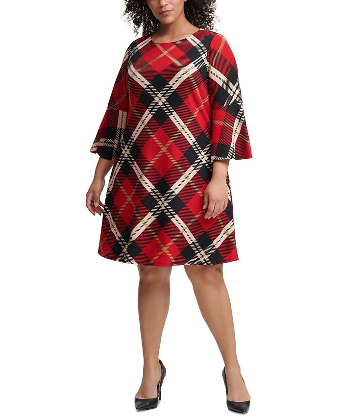 Jessica Howard - Plus Size Plaid Bell-Sleeve A-Line Dress