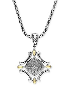 Balissima by EFFY® Diamond Curve Pendant (1/8 ct. t.w.) in Sterling Silver and 18k Gold