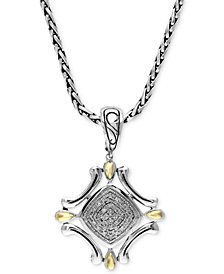 Balissima by EFFY Diamond Curve Pendant (1/8 ct. t.w.) in Sterling Silver and 18k Gold