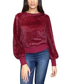 Crave Frame Juniors' Balloon Sleeve Faux Fur Sweatshirt