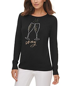 Embellished Champagne-Glass Crewneck Sweater