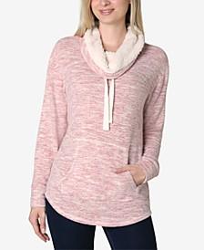 Juniors' Faux-Sherpa Lined Sweatshirt