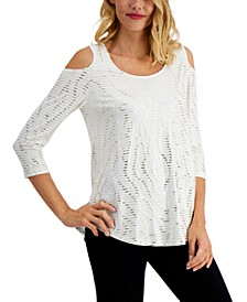 Striped Cold-Shoulder Top, Created for Macy's