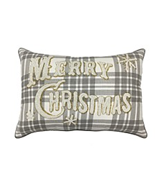 """Merry Christmas Plaid 14"""" x 20"""" Decorative Pillow, Created For Macy's"""