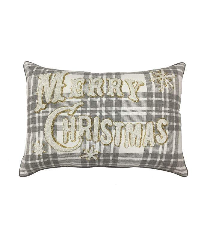 """Martha Stewart Collection Merry Christmas Plaid 14"""" x 20"""" Decorative Pillow, Created For Macy's"""