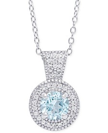 """Blue Topaz (1 ct. t.w.) & Cubic Zirconia Halo 18"""" Pendant Necklace in Sterling Silver"""