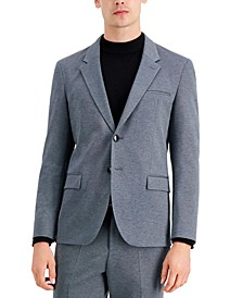Men's Regular-Fit Silver Micro-Check Suit Jacket