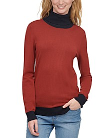 Colorblocked Turtleneck Top