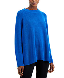 Eileen Fisher Solid Raglan Mock-Neck Top