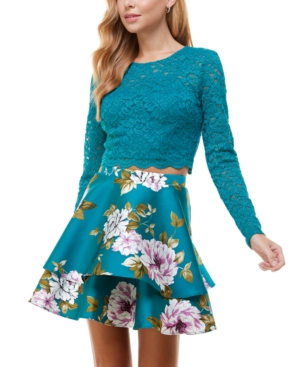 Juniors' Two-Piece Lace Top & Double-Ruffle Skirt