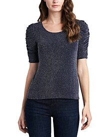 Petite Caterpillar-Sleeve Sparkle Knit Top