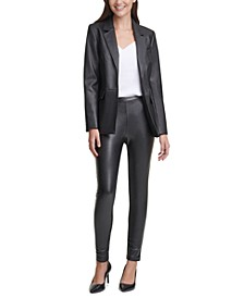 Faux-Leather Jacket, V-Neck Camisole & Pull-On Pants