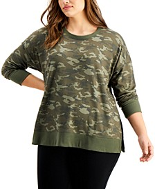 Plus Size Camo-Print Sweatshirt, Created for Macy's