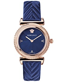 Women's Swiss V Motif Blue Leather Strap Watch 35mm