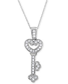 "Diamond Heart Key 18"" Pendant Necklace (1/3 ct. t.w.) in 10k White Gold"