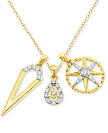 "Diamond Triple Charm 18"" Pendant Necklace (1/3 ct. t.w.) in 10k Gold"