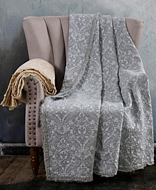 Oversized Damask Cotton Throw
