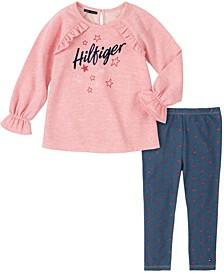 Little Girls 2 Piece Fleece Tunic with Denim Legging Set