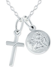 "Cross & Angel 18"" Pendant Necklace in Sterling Silver, Created for Macy's"