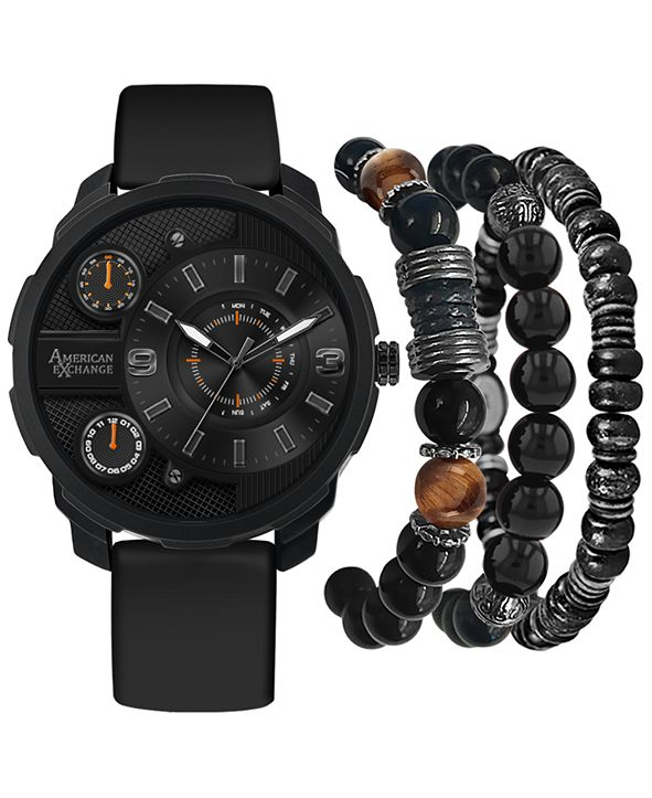 American Exchange Men's Black Rubber Strap Watch 46mm Gift Set