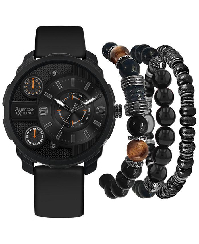 American Exchange - Men's Black Rubber Strap Watch 46mm