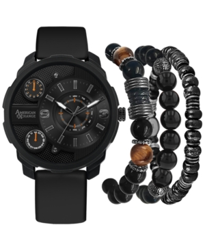 Men's Black Rubber Strap Watch 46mm Gift Set