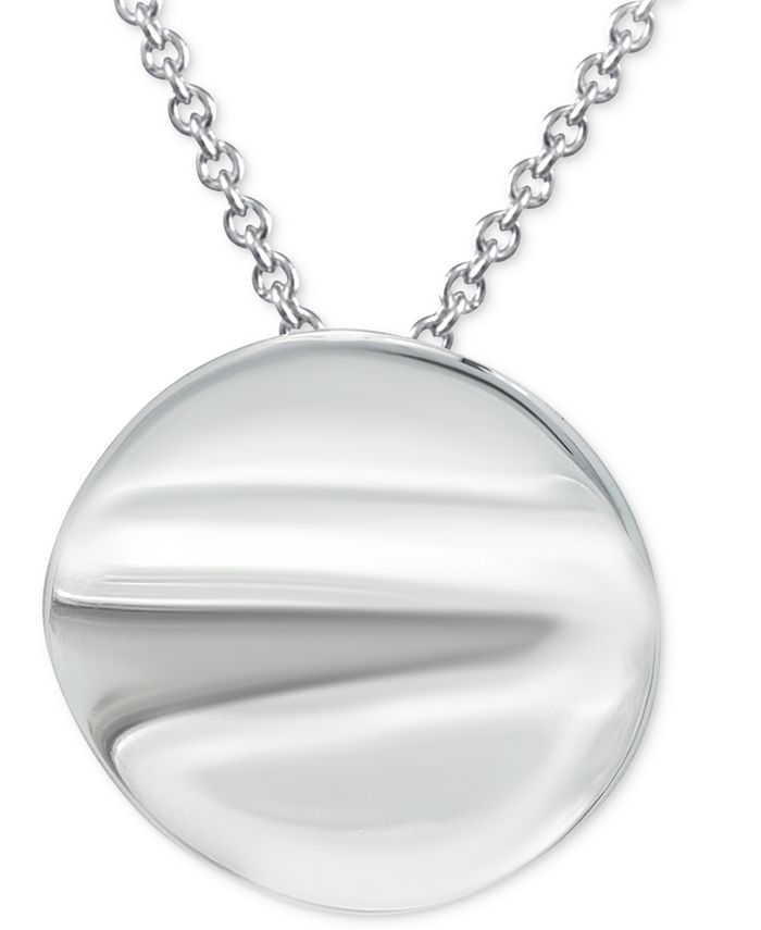 """Giani Bernini - Polished Disc 18"""" Pendant Necklace in Sterling Silver"""