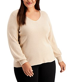 Plus Size Balloon-Sleeve Sweater