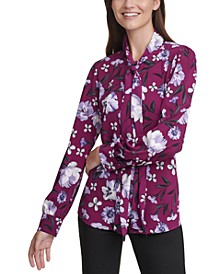 Floral-Print Long-Sleeve Tie-Neck Blouse