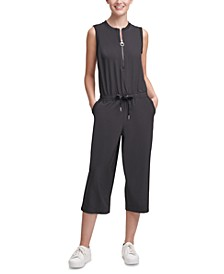 Half-Zip Sleeveless Cropped Jumpsuit