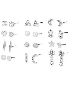 Silver-Tone 12-Pc. Set Crystal & Imitation Pearl Assorted Earrings