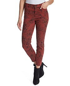 High-Rise Printed Ankle Skinny Jeans