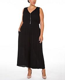 Plus Size Floral-Print Smocked-Waist Button-Front Jumpsuit