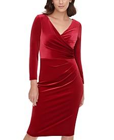 Velvet Side-Tuck Sheath Dress