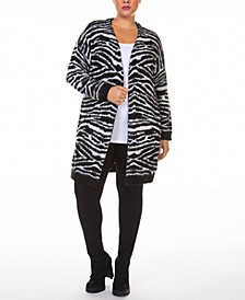Plus Size Printed Open-Front Cardigan Sweater