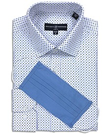 Men's Slim-Fit Non-Iron Performance Stretch Mini-Geo Dress Shirt with Pleated Face Mask