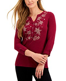 Embroidered Roll-Tab Sleeve Henley Top, Created for Macy's