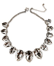 "Silver-Tone Oversized Crystal Statement Necklace, 18"" + 3"" extender, Created for Macy's"