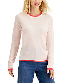 Style & Co Tipped Waffle Sweater, Created for Macy's