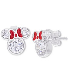 Children's Cubic Zirconia & Enamel Minnie Mouse Stud Earrings in Sterling Silver