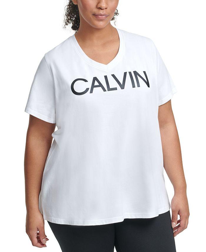 Calvin Klein - Plus Size Performance V-Neck Logo Top