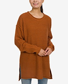Juniors' Thermal-Stitch Tunic Sweater