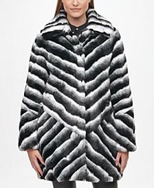 Women's Faux Fur Chinchilla Striped Coat