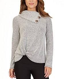 Juniors' Fuzzy Tweed Twist Front Sweater