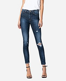 Women's High Rise Front and Back 3D Whisker Skinny Crop Jeans
