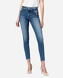 Women's High Rise Raw Hem Skinny Ankle Jeans