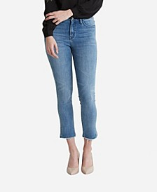 Women's High Rise Hem Detail Crop Straight Jeans