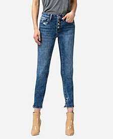 Women's Mid Rise Button Up Distressed Hem Skinny Crop Jeans