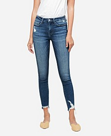 Women's Mid Rise Break Step Hem Skinny Ankle Jeans