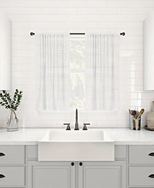 "Textured Slub Stripe Dust Resistant Sheer Cafe Curtain Pair, 52"" x 36"""